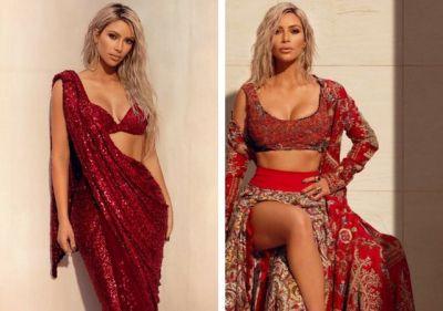 Kim Kardashian looks stunning in red saree design by Sabyasachi