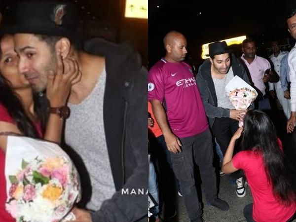 Wow! A fan surprised Varun Dhawan by going down on one knee and kissing him publicly