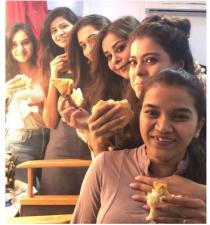 Kajol enjoying with her team on the sets of Eela