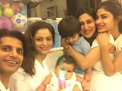 Tele-town girls clicking pictures with Karanvir Bohra's twin babies