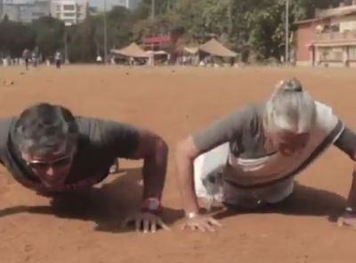 Watch video: Milind Soman's 80-year-old mom does push-ups, video goes vrial