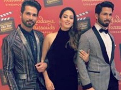 Mira Rajput poses with real and waxed Shahid Kapoor