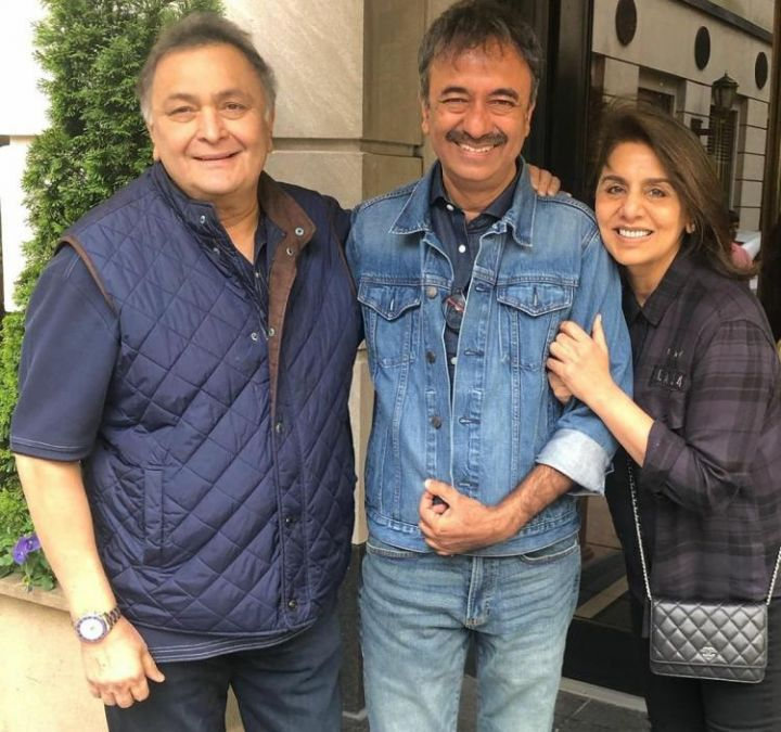 Rajkumar Hirani meets Rishi Kapoor and Neetu Singh in New York