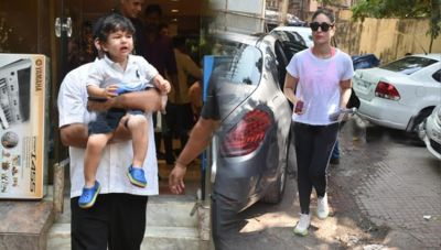 See pics: Is Kareena scolded? Taimur Ali Khan bursts into tears outside music instrument's shop