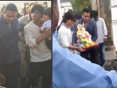 Shahrukh Khan bid adieu to Lord Ganesha alongwith his family