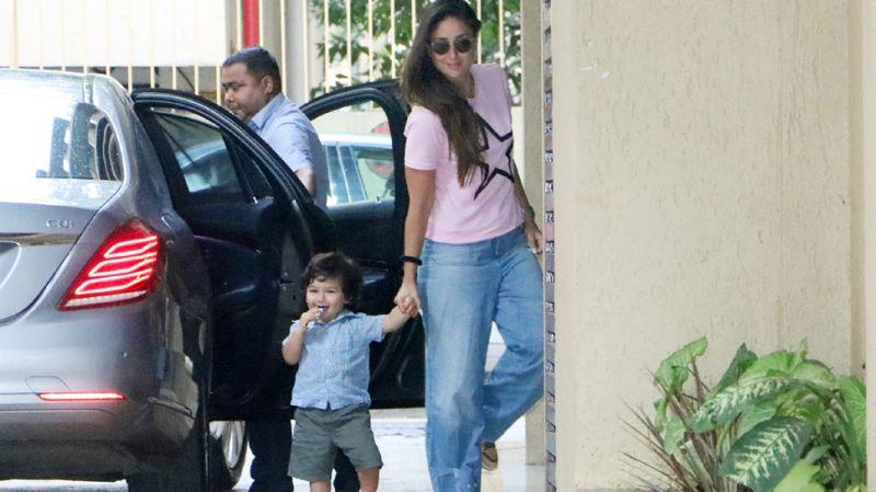 Camera-friendly Taimur Ali Khan spots Aunt  Karishma Kapoor's place with mom Kareena