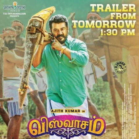 This brand new poster from Viswasam is out,Ajith sports a traditional and massy look