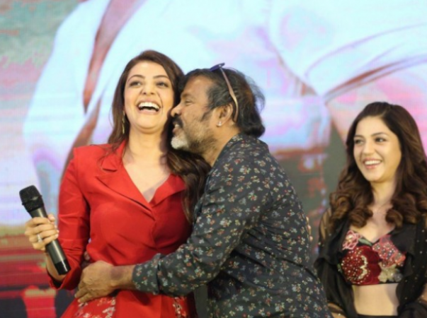 Kajal Aggarwal faces an oops moment after well known technician forcibly kisses her at Kavacham teser launch
