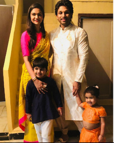 Dussehra 2018: Allu Arjun gets festival vibes with wife and kids at his mother in law's place