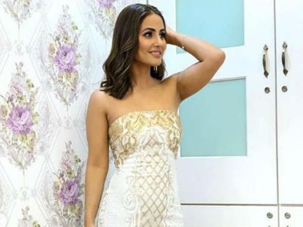 Hina Khan  is high with her fashion game in a white and gold strapless number  - see pics