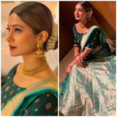 Bepannaah actor Jennifer Winget gives you festivity vibes  with this elegant Indian wear