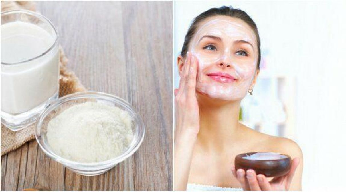 Milk powder can also be used for fairer skin