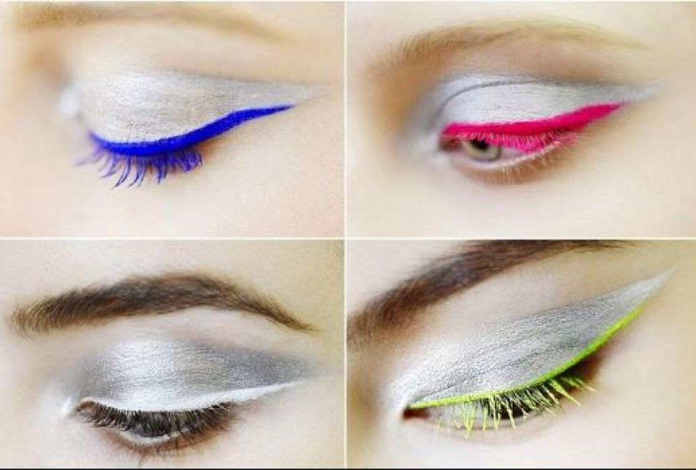 Colored Eye Liner is in trend again, follow this