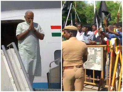 PM Modi faces black flag protests  in Chennai
