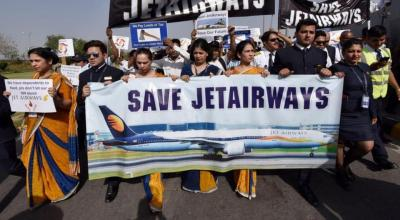Employees of Jet Airways silent protest outside Terminal 3 at Indira Gandhi airport