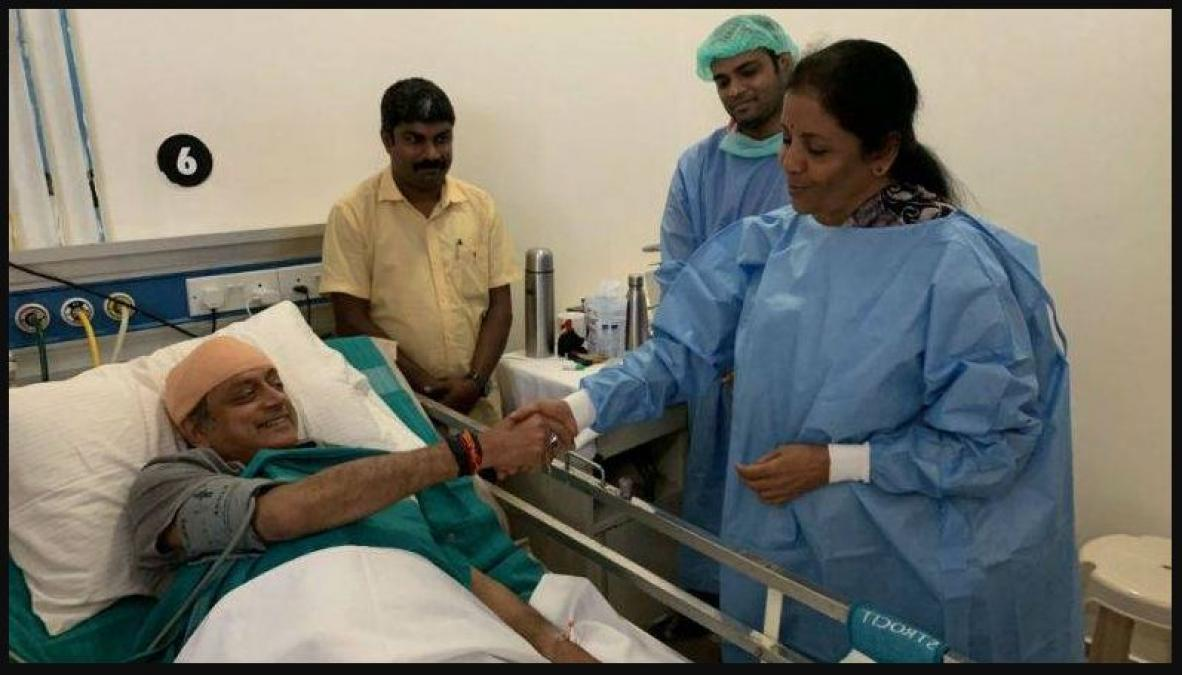 Nirmala Sitaraman visited injured Congress MP Shashi Tharoor, Tharoor  tweets heartfelt message