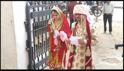In Jammu and Kashmir, Just married couple cast their vote, looks adorable