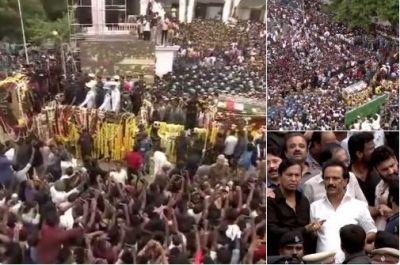 M Karunanidhi's funeral procession departs from Rajaji hall