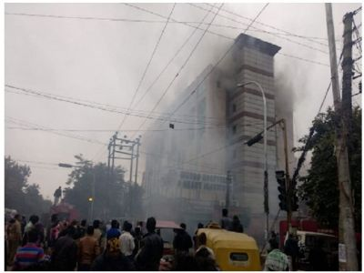 A massive fire broke out at Multispeciality Hospital in Noida
