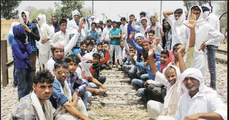 Gujjar community again held a dharna demanding five per cent reservation