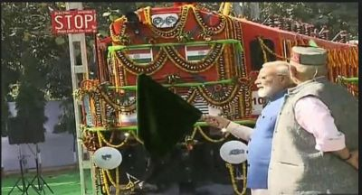Prime Minister Narendra Modi flagged off an electric locomotive converted engine