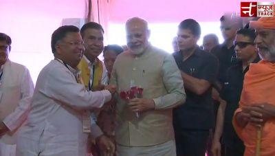 Prime Minister Narendra Modi arrives in Shravanabelagola for the Bahubali Mahamasthakabhisheka Mahotsav