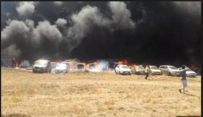 A massive fire broke out in Aero India 2019 Show's Parking area, 80-100 cars Gutted in Fire