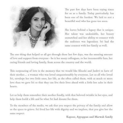 Sridevi's family release a letter; read it here