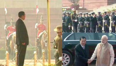 Cambodian PM receives Ceremonial welcome at Rashtrapati Bhawan