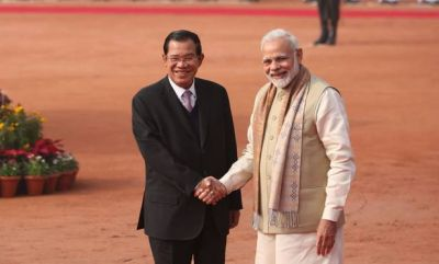 Delhi: Cambodia PM Hun Sen meets PM Narendra Modi at Hyderabad House