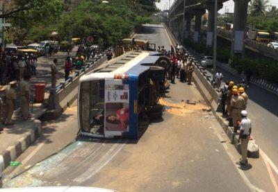 Thirteen passengers injured in BMTC bus accident