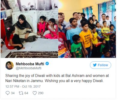 Jammu and Kashmir  CM Mehbooba Mufti  celebrated Diwali at an orphanage