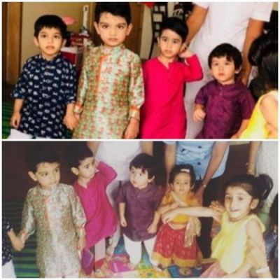 See pics:Taimur, together with his younger sister, celebrated Navratri,  in the traditional avatar