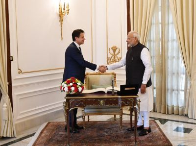 Prime Minister Narendra Modi and  Italian PM Giuseppe Conte address India-Italy Technology Summit