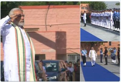 PM Modi inspects the Guard of Honour at the inauguration of Parakram Parv