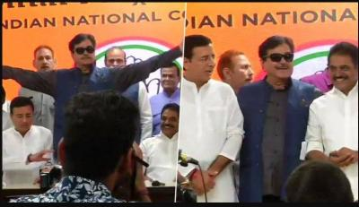 Veteran actor-MP Shatrughan Sinha  quit BJP and joined Congress on BJP foundation day