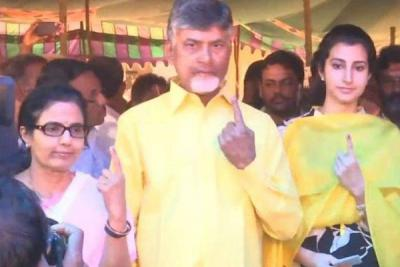 Andhra CM Chandrababu Naidu and his family members cast vote in Mangalagiri