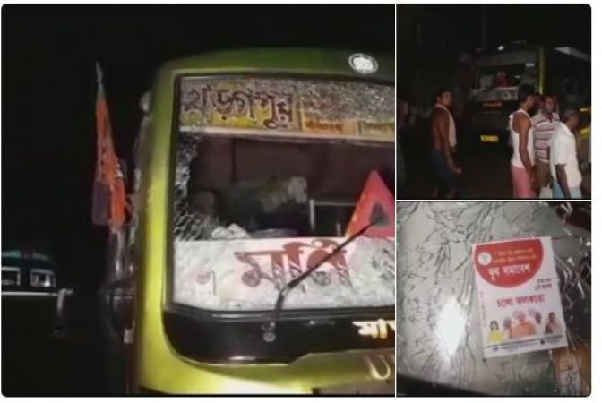 Bus waiting to take BJP workers to Kolkata for Amit Shah's rally attacked, FIR launched