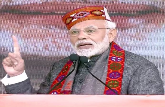 PM Modi corners Congress 's loan waiver move in Himachal Pradesh