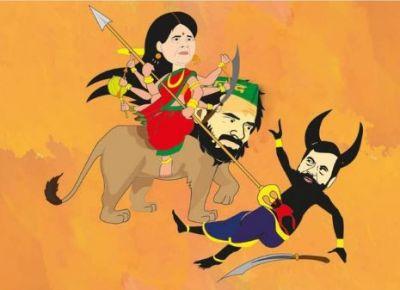 'Lion' Tej Pratap Yadav shares a poster, depicts Ram Vilas Paswan as Mahisasura
