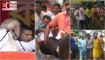 A portion of  tent at  PM Modi's rally  in Midnapore collapsed