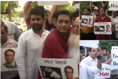 Congress workers organised a 'free hug' campaign