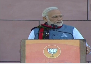 Prime Minister Narendra Modi pauses his address at BJP HQ for Azaan