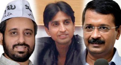 Delhi CM Arvind Kejriwal and Deputy CM Manish Sisodia trying to convince Kumar Vishwas