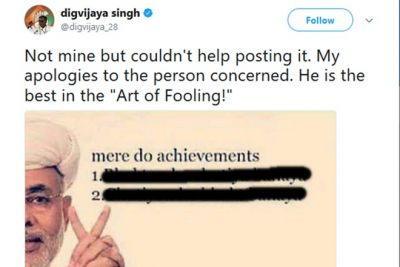 Digvijaya Singh posts a meme on Twitter against PM Modi
