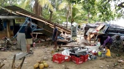 Tsunami  hits Indonesia,At least 43 dead, 600 injured