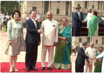 South Korean President Moon Jae-in receives ceremonial reception