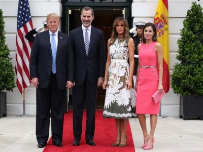 Spanish royal couple receives grand welcome in White House
