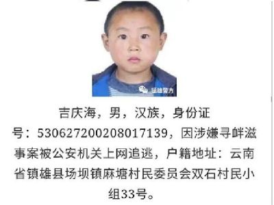 Chinese Police uses suspected criminal's childhood picture on wanted poster