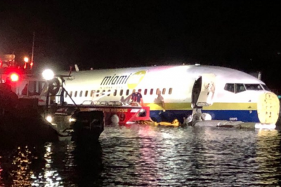 Boeing 737 slides off the runway, falls into river in Florida